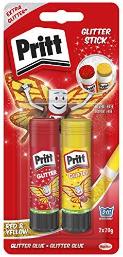 Pritt Glitter stick, esclusiva colla glitter per bambini, per lavoretti e fai da te, Colla Pritt glitterata per casa e scuola, 2 colle stick da 20g in 2 colorazioni