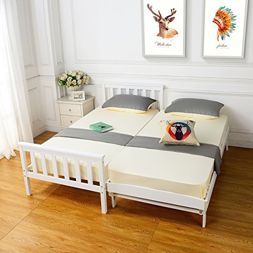 Single Bed Wooded frame, HST Mall Single Bed with Trundle Pull out Underbed Guest Bed in White Bedroom Furniture