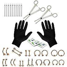 BodyJ4You 16 G y 14 G Cuerpo Piercing Kit 35 Piezas Vientre Lengua pezón Tragus Oreja