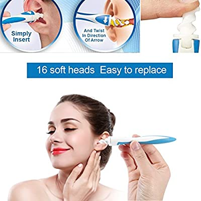 Earwax Remover, Smart Flexible Ear Cleaner Swab Safety Soft Spiral Earpick Earwax Removal Cleaner Easy Ear Pick Clean Tools with 16Pcs Replacement Heads