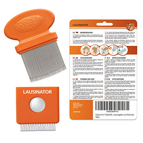 Liendrera metálica 3 en 1 para niños y adultos - Peine para piojos extrafino - Distancia mínima entre púas