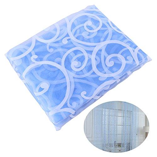 Winomo tenda tulle con passanti per la casa tendaggio con stampa di 2m x 1m (azzurro)