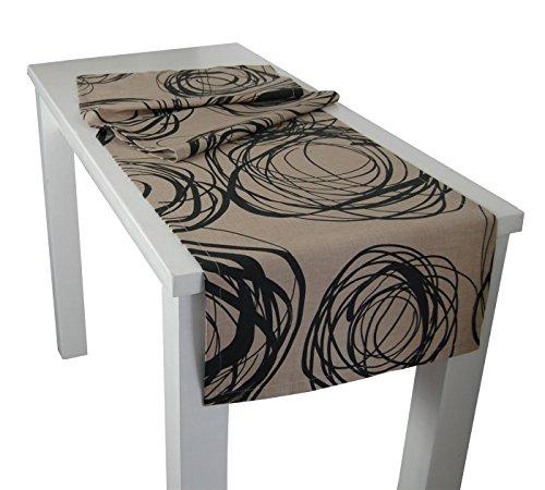 beties Mystik Tischläufer ca. 40x150 cm in interessanter Größenauswahl hochwertig & angenehm 100% Baumwolle Farbe Toffee-Schwarz (Korb Grau Bett-decke)