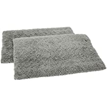 Amazon Brand - Solimo Premium Anti-Slip Microfibre Bathmat - 60cm x 40cm, Pale Grey, Pack of 2