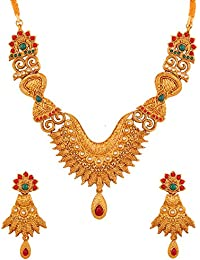Touchstone Alloy Ethnic South Indian Jewelry Faux Ruby And Faux Emerald Bridal Designer Necklace Set In Antique...