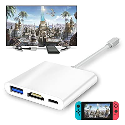 FYOUNG USB Type-C to HDMI Adapter for Nintendo Switch,1080P USB C Hub HDMI Converter Cable for Nintendo Switch,Samsung Galaxy S8(Silver) by FYOUNG
