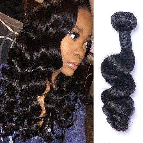 Puddinghair Bresilien Humain Vierge Ondule Cheveux Noir Naturel Longueur Extensions de cheveux boucles vague lâches 3 Bundles (30\