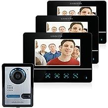 """GAMWATER 7 """" TFT con pantalla táctil color LCD Video puerta teléfono con cable de comunicación de 3 Monitor de vídeo timbre Intercom sistema"""