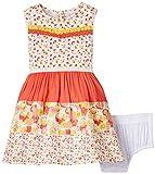 Nauti Nati Baby Girls' Dress (NSS15-983_Ecru-oragne _6 - 12 months)