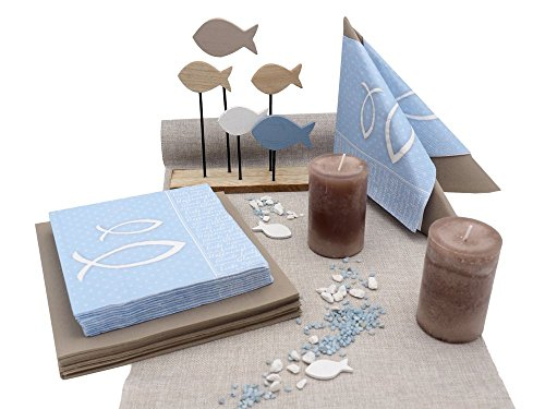ZauberDeko Tischdeko Kommunion Konfirmation Blau Taupe Fische Set 20 Personen