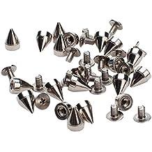 Generic - Cono de plata 100pcs espigas screwback espárragos para diy artesanía cuero - perfecto para la decoración en su diy empaqueta , pulseras de cuero , ropa, zapatos , etc