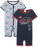 Twins Baby-Jungen Spieler, 2er Pack, Mehrfarbig (navy-blau/rot/grau 3200), 80