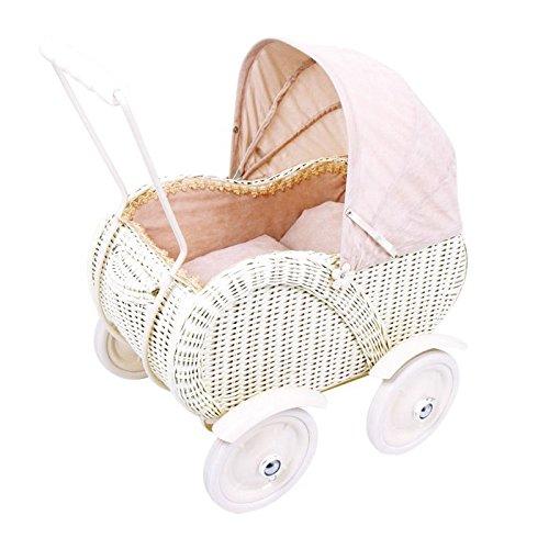 """Puppenwagen / Puppenbett """"Caroline"""" aus Holz / Rattan im cremefarbenem Retrolook , mit faltbarem Verdeck und Vollgummireifen, für Puppenmuttis ab 3 Jahre"""