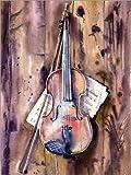 Poster 30 x 40 cm: Violin and Notes by Anastasia Mamoshina - high quality art print, new art poster