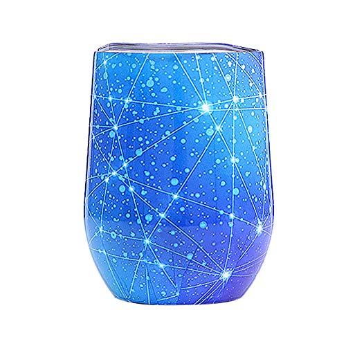 250ml in acciaio INOX Galaxy Stemless Wine bicchiere tumbler tazza da viaggio con coperchio-Doppio uovo acqua potabile mug for Coffe cocktails Juice gelato B