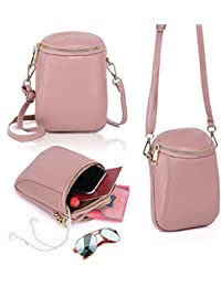 Womens Leather Small Cute Crossbody Cell Phone Purse Wallet Bag With Shoulder Strap - Peal Pink By Zg Gift