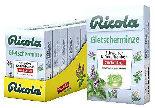 Ricola Gletscherminze, Schweizer Kräuterbonbon, 10 x 50g Böxli, ohne Zucker, Wohltuend für Hals und Stimme*