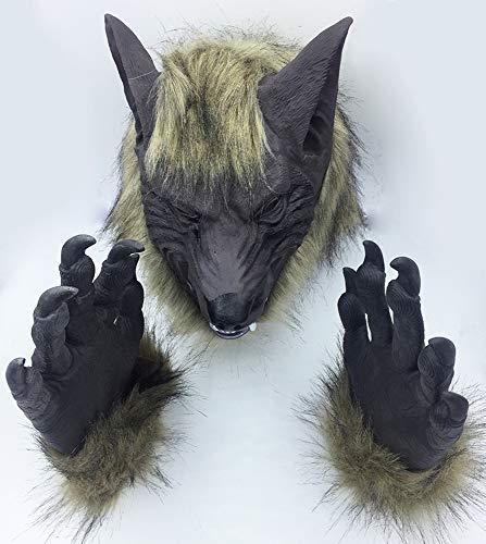 OuYangs Neuheit Halloween Kostüm Cosplay Party Maske Werwolf Schädel Wolf Kostüme Herren Kopf Maske Madness Kostüm für Freitag Party, Geschenk, Maskerade Parteien, Weihnachten, Ostern - Wolfskopf + Wolf Handschuhe