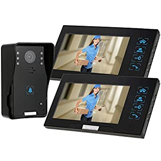 KKmoon 7 Inch Video Door Phone Intercome Doorbell Home Entry Intercom System Kit 2 Monitors 1 Camera Night Vision