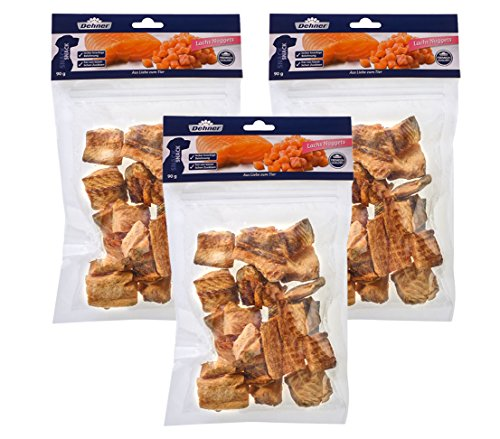 Dehner Premium Hundesnack, Lachs Nuggets, 3 x 90 g (270 g) (Lachs-nuggets)