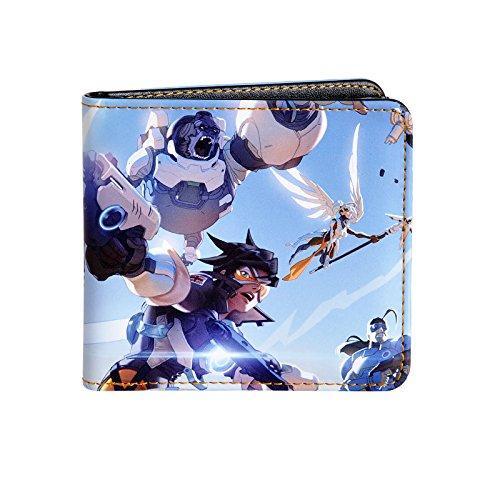 Preisvergleich Produktbild Overwatch Geldbörse Sky Battle Tracer Winston Mercy Reinhardt Brieftasche 9,8x10,8x1,7cm blau