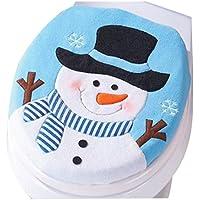 Fossrn Navidad Decoracion de Inodoro - Muñeco de Nieve de Navidad Cubrir del Asientos de Inodoro (01)