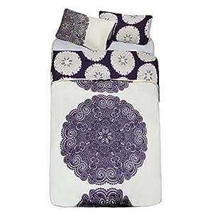 just contempo parure de lit r versible baroque motif floral housse de couette king size. Black Bedroom Furniture Sets. Home Design Ideas