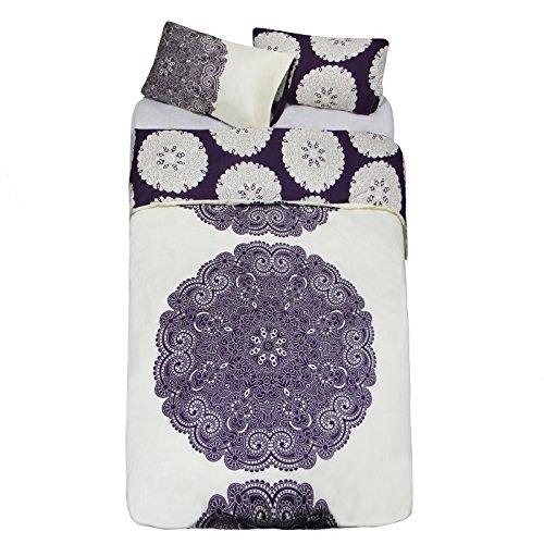 Just Contempo - Juego de funda nórdica y funda de almohada reversible, diseño floral, mezcla de algodón, morado y crema, funda nórdica para cama doble (mezcla de algodón)