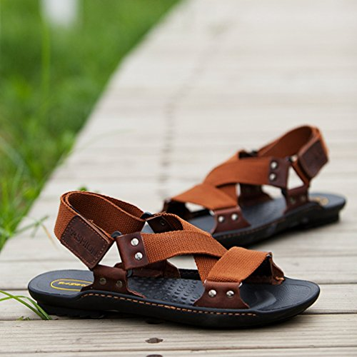 YiLianDa Slide Sandal Herren Freizeit Hausschuhe Sandalen Outdoor Sommer Strand Pantolette Schuhe Braun