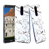 CLM-Tech kompatibel mit Huawei Mate 10 Lite Hülle, TPU Gummi Case Silikonhülle, Marmor weiß schwarz