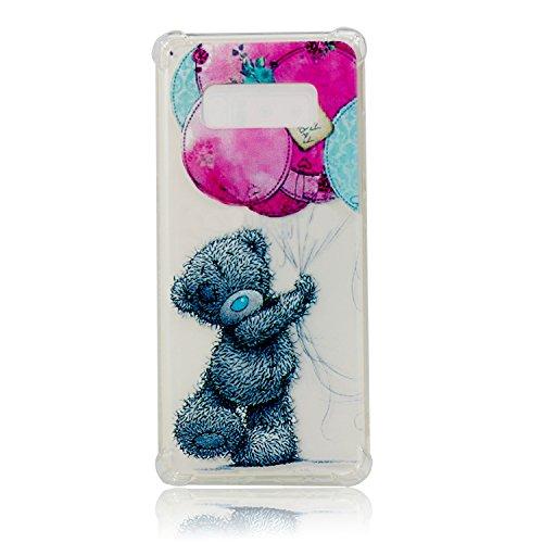 Coque Galaxy Note 8,Étui Galaxy Note 8,Surakey Souple Silicone Transparent Housse Etui pour Samsung Galaxy Note 8 Coque de Protection en TPU avec Absorption de Choc Bumper et Anti-Scratch (Ours Gris)