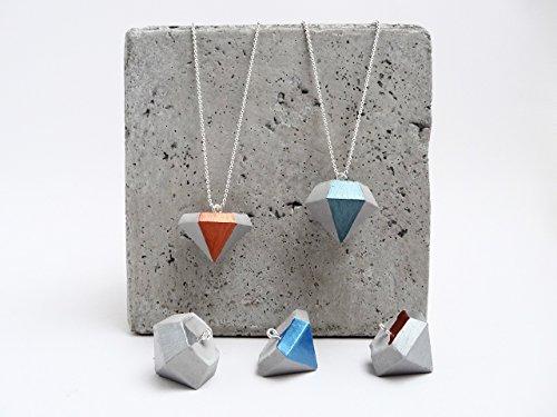 Beton Handmade Diamant KUPFER Metallic Geometrie Halskette Geschenkbox (Metallic Perlen Halsketten)