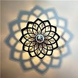 E14 Modern Creative Acryl geschnitzt Wand Lampe Cafe Bar Schlafzimmer Bett Bad Aisle Persönlichkeit Kinder Zimmer Flower Form cute Mauer Licht innen Haus Dekor schwarz Kunst Shadow Wandlampen,D28cm