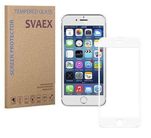 SVAEX iPhone 8 Plus iPhone 7 Plus - Vollständige Abdeckung - Weiß - Premium Bildschirmschutz aus gehärtetem Glas - 9H gehärtetes Glas - 0.3mm dick - HD-Transparenz - 2.5D abgerundete Ecken - stoßfest - öl-/fettabweisende Beschichtung - berührungssensible Oberfläche - hochwertiges Glas - einfache Anbringung - blasenfreie Klebefläche aus Silikon - Japanisches Glas