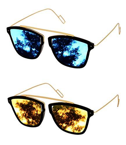 Shvas Uv Protected Wayfarer Unisex Sunglasses Combo of 2 pcs (NUBIASUPERMIRBLUGOLDCOMBO)