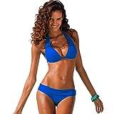 LJTDE Bikinis Frauen Badeanzug Bademode brasilianischen Bikini Neckholder Retro Beach Badeanzug Blau XXL