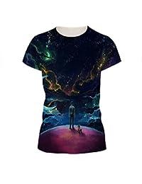 Unisex Novedad 3D Impresa Camisetas Sci-Fi Imprimir Tops Básicos Patrón Divertido Camisetas De Manga