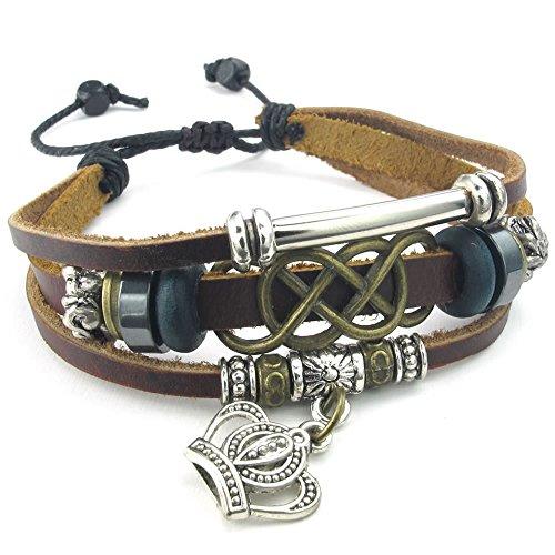 KONOV Schmuck Herren Damen Armband, 18-23cm Tribal Geflochten Irischen Dreiecksknoten Trinity Keltisch Knoten Krone Armreif, Leder Legierung, Braun Silber Irische Armbänder Für Frauen