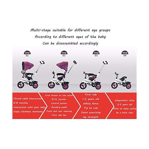 4 In 1 Kids' Trikes 6 Months To 5 Years 360° Swivelling Saddle 2-Point Safety Belt Kids Tricycle Blockable Rear Wheels Heigh Adjustable Handlebar Child Trike Maximum Weight 25 Kg,Brown BGHKFF ★Material: Steel frame, suitable for children from 6 months to 5 years old, the maximum weight is 25 kg ★ 4 in 1 multi-function: can be converted into baby strollers and tricycles. Remove the hand putter and awning, and the guardrail as a tricycle. ★Safety design: Golden triangle structure, safe and stable; front wheel clutch, will not hit the baby's foot; 2 point seat belt + guardrail; rear wheel double brake 3
