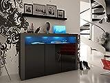 Black Matt & Black High Gloss Modern 3 Door Sideboard Storage Unit. LED Kit