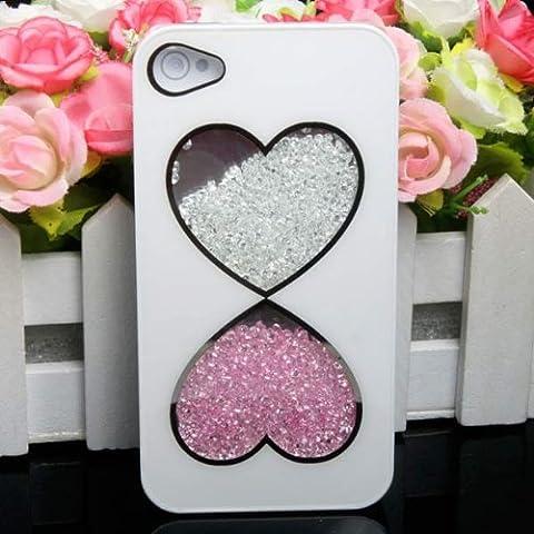 Cubierta de la caja de colores Corazón Doble Diamante duro para el iPhone 4 4S.