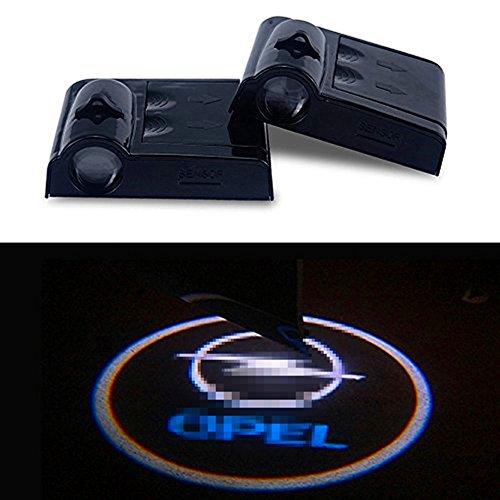 Preisvergleich Produktbild ATK 2 x Wireless Ohne Bohren Typ LED Laser Tür Schatten Licht Welcome Projektor Licht LED Auto Tür Logo Opel Ghost Shadow