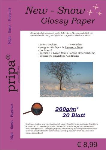 att Fotopapier DIN A4 260g - glossy glanz Fotopapier mit großer Tiefendichte Schwarztondichte - ausgezeichnetes Farbspektrum - fuer InkJet Drucker - sehr gut für Pigment-Tinte geeignet ()