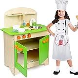 BAKAJI Küche aus Holz Spielzeug für Kinder mit Spülbecken Edelstahl Kochfeld Mobile Dual Fach mit 2Türen mit Magnetverschluss Töpfe und Zubehör Spiel Größe 30x 60x 72cm Farbe Grün