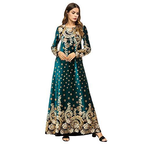 Meijunter Muslimische Kleider für Damen - Samt Langarm Abaya Golddruck Indische Robe Arabisch Islamisch Kleid Dubai Kaftan Grün M