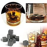 Stonges Whiskey Stone Rocks Eis Getränkekühler Würfel 9Pcs Whiskey Stein Granit Set-Ideal für Wein, Getränke, Bier