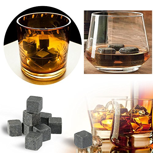 Stonges 18pcs Whisky Stone Rocks Ice Drinks Cooler Cubes Whisky Stone Granito Set-Ideale per Vino, Bevande, Birra