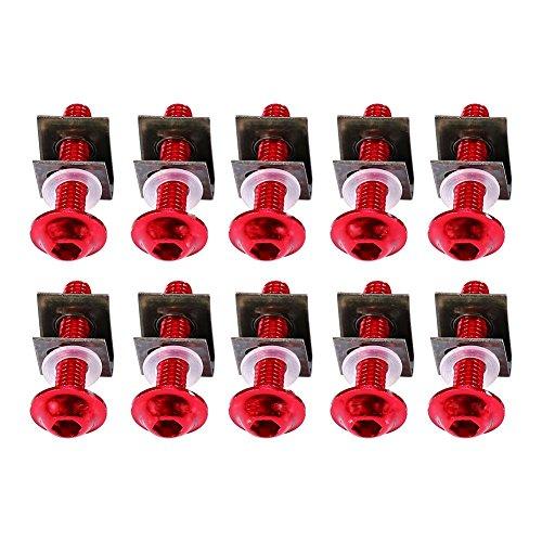 Qiilu Kit de Montage Clips Boulons à Vis Carenage écrous 10xMotorbike M6 6mm x 30mm en aluminium Rouge
