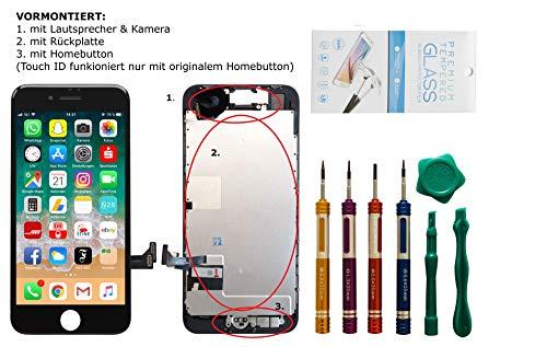 GIKEB Erdsatzdisplay für iPhone 7 VORMONTIERT | mit Kamera, Näherungssensor, HomeButton, Lautsprecher, Werkzeug und Folie | Komplettset | Deutscher Händler (iPhone 7, schwarz)