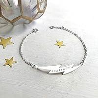 Personalised Sterling Silver Lightning Bolt Bracelet, flash bracelet, celestial jewellery, Christmas gift, anniversary gift, birthday gift
